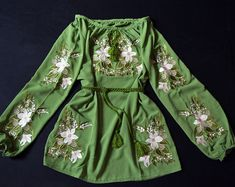 Boho green chiffon embroidered blouse Ukrainian vyshyvanka Ethnic clothing Embroidery with lilies Floral pattern Boho Green, Bright Green, Vintage Embroidery, Embroidery Patterns, Machine Embroidery, Red Chiffon, Embroidered Blouse, Blouse Dress, Traditional Dresses