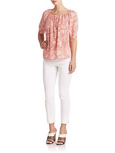 51e9c58cae0e Tory Burch - Ruched Floral Top Saks Fifth Avenue