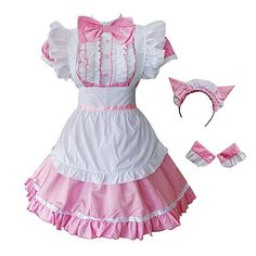 GRACIN Women's Cat Ear French Maid Costume with Apron, 5 Pieces Fancy Dress for Halloween Cosplay - Dress Honey Maid Cosplay, Cosplay Dress, Cosplay Outfits, Lolita Cosplay, Anime Cosplay, Kawaii Fashion, Cute Fashion, Fashion Outfits, Maid Outfit