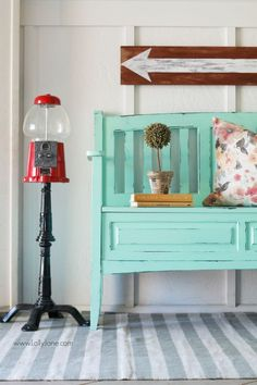 A lovely teal bench before-and-after. See how easy it is to get this look in this colorful entryway. Great home decor ideas!