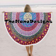 Plum and Bow Multicolor Mandala Roundie Bedspread Beach Throw – TheNanoDesigns