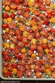 Ranch Roasted Tomatoes - Easy 20 minute basil feta roasted tomatoes. A quick and healthy summer sheet pan vegetable side dish recipe. Vegetable Side Dishes, Side Dishes Easy, Vegetable Recipes, Vegetarian Appetizers, Yummy Appetizers, Vegetarian Food, Caprese Skewers, Oven Roasted Tomatoes