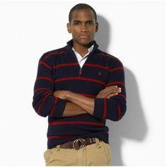 Men\u0026#39;s Polo Ralph Lauren Stripe Half-zip Sweater in Navy Sale,Size available: