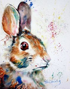 Colorful Bunny Rabbit watercolor art print by christydekoning, $20.00