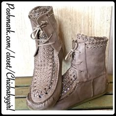 ✨HP✨SAM EDELMAN KATELYN NUBUK LEATHER Chic moccasin booties mix urban flair with classic style. Assorted studs accent the vera gated leather, creating glamorous shine. Absolute gorgeous NUBUK grey leather. Dirtied toe and heel caps, lace up closure and crepe sole. NIB Sam Edelman Shoes Moccasins
