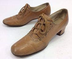 Women's Vintage Brown Leather Lace Up Oxford Shoes Sz 8