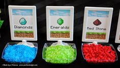 """Where to buy 2015 Minecraft Easter party food labels with """"Diamonds"""" """"Emeralds"""" and """"Red stone"""" letters decor - Easter party treat table decor"""