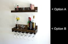 Rustic Wood Wine Rack Wall Mounted Shelf with UNIQUE (Beveled) Hanging Stemware Glass Holder Floating Bar Shelves & Organizer Wine Glass Shelf, Glass Wall Shelves, Bar Shelves, Wine Glass Rack, Wall Mounted Shelves, Rustic Wine Racks, Wine Rack Wall, Wood Display, Wall Bar