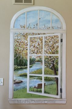 Trompe L'oeil Window Mural - with river scene, painted in private residence in Chicago suburb.