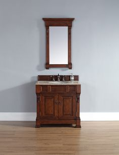 "James Martin 147-114-5581-RGB Brookfield 36"" Warm Cherry Single Vanity with Beige Rust Stone Top"