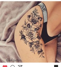 Thigh Piece Tattoos, Waist Tattoos, Thigh Tattoo Designs, Pieces Tattoo, Body Art Tattoos, Rib Tattoos For Women, Pretty Tattoos For Women, Tattoo Women, Flower Hip Tattoos