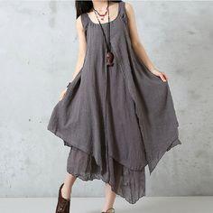 Women Cotton Linen Dress Loose Dress Summer Dress by debag2000