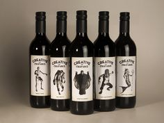 Grain creative came up with the unthinkable and mixed monsters and wine, really making it the monster mash. There are five bottles of red wine all packaged in dark tall bottles, the label features a white faded background with black and white drawings of each creature - werewolf, mermaid, zombie, vampire and mummy. It is perfect for a Halloween party