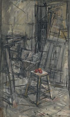 Alberto Giacometti (Swiss, Pommes dans l'atelier [Apples in the studio], Oil on canvas, 70 x cm. The back lines over the painting make the artwork very expressive. Alberto Giacometti, Giacometti Paintings, Figure Painting, Painting & Drawing, Modern Art, Contemporary Art, Art Sculpture, Art Moderne, Art Graphique