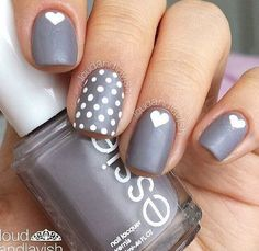 Gray & White Nails