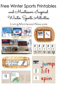 Free winter sports printables and Montessori-inspired winter sports activities for multiple ages; perfect for home or classroom - Living Montessori Now Montessori Activities, Montessori Homeschool, Sports Activities, Sports Day, Winter Sports, Winter Activities For Kids, Winter Games, Holiday Activities, Winter Kids
