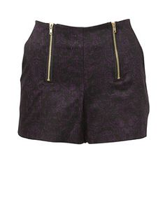 Black Pattern (Black) Black and Purple Baroque Print Zip Front Short | 266701909 | New Look