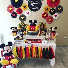 Mickey Mouse Birthday Party for third birthday Mickey 1st Birthdays, Mickey Mouse First Birthday, Mickey Mouse Baby Shower, Mickey Mouse Clubhouse Birthday Party, 2nd Birthday, Birthday Ideas, Mickey Birthday Parties, Theme Mickey, Fiesta Mickey Mouse