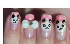 Acrylic Nail Art Tutorial - Nail Art Design From CoolNailsArt Panda Bear Nails, Panda Nail Art, Panda Bears, Nail Polish Designs, Cute Nail Designs, Fancy Nails, Cute Nails, Pretty Nails, Matte Nail Colors