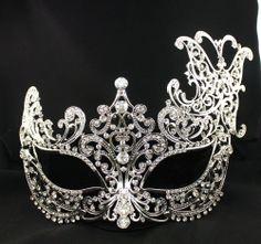 rhinestone Silver Metal  finished Venetian Masquerade Mardigra mask Party Decor #Unbranded