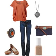 Love the shoes, shirt neclace, purse and ring! So fabulous!  casual skinny, created by ohsnapitsalycia.polyvore.com
