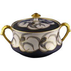 """Tressemann & Vogt (T&V) Limoges Arts & Crafts Biscuit Jar (Signed """"V.B. Smith""""/Dated 1906)"""