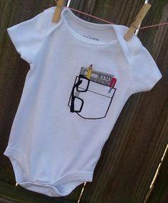 Too cute. Nerd Onesie! Created by So Cute By Sarah (www.facebook.com/socutesarah)