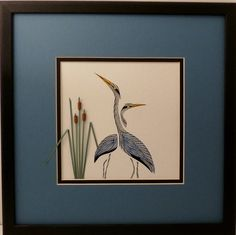Sandra creates beautiful framed keepsake wedding invitation gifts with paper quilled flowers, and specializes in Quilled Wildlife, such as Loons, Herons, and WildFlowers.