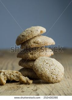 Walnut cookies stack over wooden table
