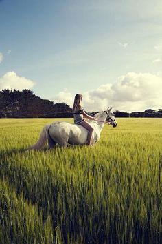 La nature, son cheval et droit dans le soleil....