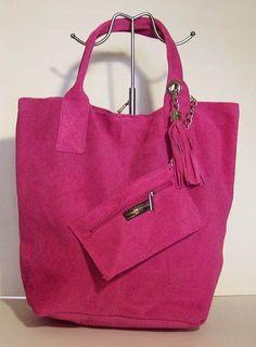 Damestas van Suede leer Fuchsia Roze kleur model shopper
