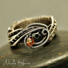 Hematite and Orange Crystal Wave Ring from Nicole Hanna Jewelry