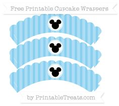 Free Baby Blue Striped Mickey Mouse Scalloped Cupcake Wrappers