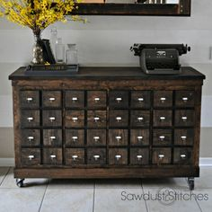 Turn a cheap modern shelf into a rustic apothecary style cabinet.