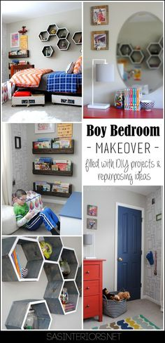 457396905878546970 Boy Bedroom MAKEOVER   Gray walls, picture frame wallpaper, pops of orange   blue   black. The perfect space for a young boy to teen. You wont want to miss all the creative DIY projects
