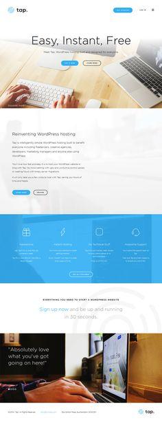 Tap, flat design website, example