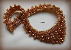 Cuentas de oro miel & collar semilla marrón con perla por Szikati