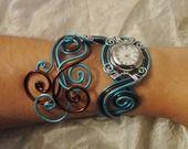 Bracelet montre - Piéce Unique- Trio d'aluminium chocolat turquoise : Montre par tendancebijoux