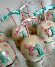 Baby's 1st birthday Caramel w/Chocolate Candy Apples.