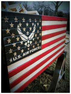 New military flag just listed to honor the men and women of the United States Air Force. Two sizes available. American Air, American Flag Wood, American Crafts, Pallet Flag, Wood Flag, Chicago Cubs Flag, Us Army Flag, Air Force Girlfriend, Air Force Mom