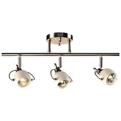 Matte opal glass and a chic satin nickel finish decorate this charming industrial style 3-light track fixture for the home.