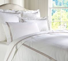 euro pillow cover and/or duvet & shams: gray mist - also like striped duvet in pic. Grand Embroidered 280-Thread-Count Duvet Cover  Shams #potterybarn