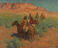 Edgar Alwin Payne 1882 - 1947 NAVAJOS ON HORSEBACK signed Edgar Payne (lower right) oil on canvas 28 by 34 inches (71.1 by 86.4 cm) Painted circa 1930.