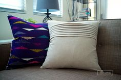 Couch Pillow Modern - Beige Linen with Classic Pleats - Purple Modern Quilting Cotton with Fun Triangles - 18 x 18 inches - Koi Sofa Throw Pillows, Modern Quilting, Triangles, Koi, Beige, Purple, Craft, Classic, Cotton