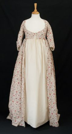 Open Robe: ca. 1770-1790, British, cotton, linen, metal.  National Trust Inventory Number 1348732