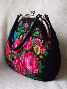 """Купить Сумка """" Ностальгия """" - чёрный, цветочный, павловопосадский платок, grinat"""