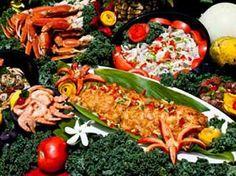 Food spread for a luau in Hawaii