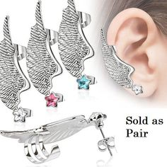 Angel Wing Feather Ear Cuff with Star CZ Stud Earring 316L Surgical Steel - Sold as Pair (Pair (left & right) - Clear) Pierced Owl http://www.amazon.com/dp/B01A4T2O6E/ref=cm_sw_r_pi_dp_1B7Nwb0Q96K6E