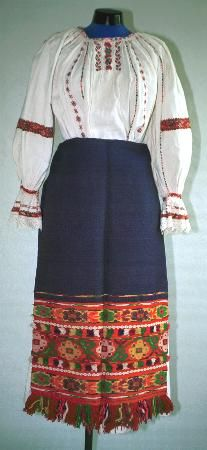 Popular Folk Embroidery Women's costume from county of Maramureş, zone Lăpuş; chemise (Cămaşă cu mâneca din gât) with frill at wrist (fodor). band of geometric red, blue Folk Embroidery, Embroidery Patterns, Modern Embroidery, Folk Costume, Embroidery Techniques, Costumes For Women, Crochet Lace, Blue Yellow, Fashion Art