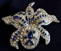 Vintage Art Nouveau Rhinestone Trembler Orchid Flower Pin Brooch   eBay